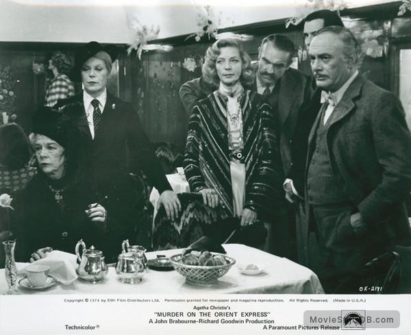 Murder on the Orient Express - Publicity still of Sean Connery, Lauren Bacall, Martin Balsam, Anthony Perkins, Wendy Hiller & Rachel Roberts