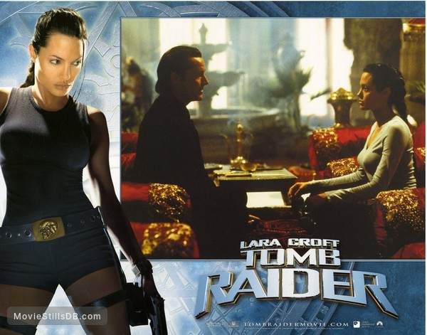 Lara Croft: Tomb Raider - Lobby card with Angelina Jolie & Iain Glen