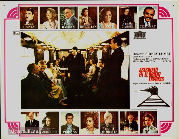 Murder on the Orient Express - Lobby card with Albert Finney, Sean Connery, Vanessa Redgrave, Anthony Perkins, J Pierre Cassel, Lauren Bacall, Martin Balsam, Michael York & Jacqueline Bisset
