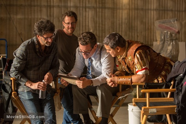 Hail, Caesar! - Behind the scenes photo of Ethan Coen, Joel Coen & George Clooney