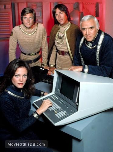 Battlestar Galactica - Promo shot of Maren Jensen, Dirk Benedict, Richard Hatch & Lorne Greene