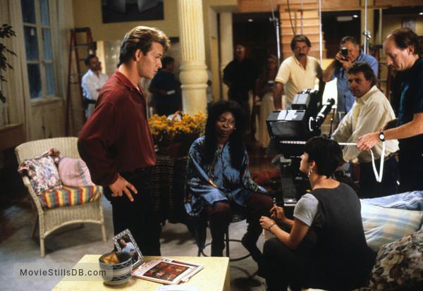 Ghost - Behind the scenes photo of Demi Moore, Patrick Swayze & Whoopi Goldberg